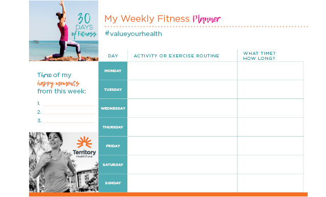 FREE Weekly Fitness Planner